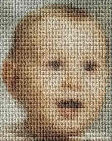 baby face as a mosaic of skull