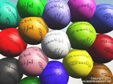 multicolored billard balls with beautiful in English