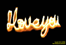 I love you written with flames