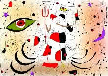 the devil and an angel dancing salsa in a Joan Miró world