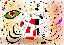 couple dansant la valse dans un monde de Joan Miró