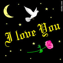 I love you with white dove and red rose