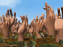 hands raised like trees