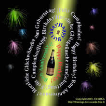 happy birthday in English with bottle of champagne and fireworks