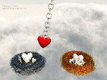 heart balancing between a silver and a golden nest