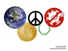 symbolic olympic rings with Earth, doping, peace, and laurels