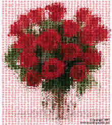 bouquet of roses made of hearts on pink background