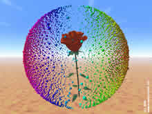 red rose in a multicolored sphere