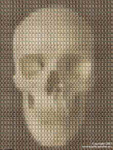 skull in a mosaic of babies