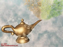 rub Aladdin's lamp and make three wishes