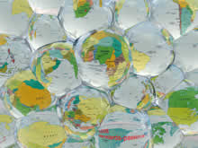 world map through crystal balls