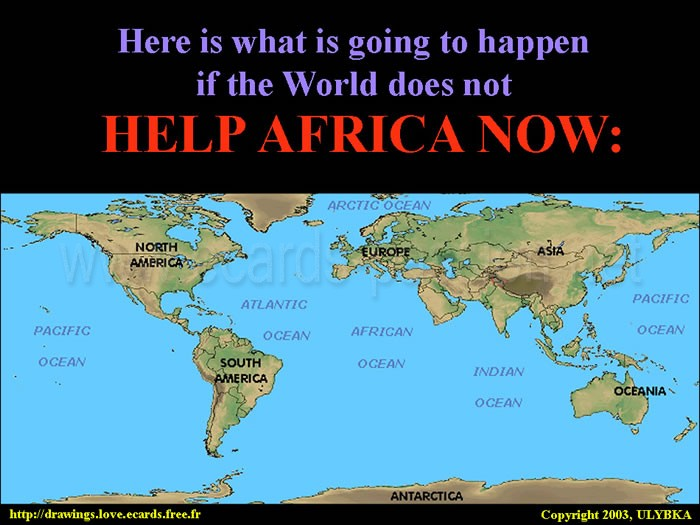 despaired people; help Africa now before it is too late; ocean of Africa; suffering, sickness and hunger; solidarity of the world