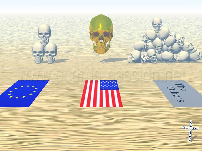 dead Americans worth more than dead from another country; despise of other people; golden skull; inequality in front of death; heap of skulls; injustice