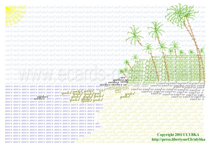 ASCII art; coconut beach; palm trees; paradise island; sea shore