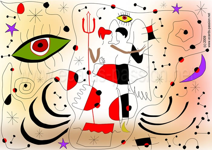couple dancing salsa; angel and devil; Joan Miró