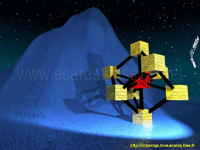 Atomium in Brussels, Belgium; molecule of iron crystal; mountain; night; sea wave; stars
