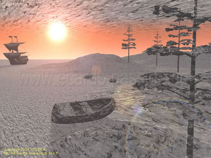 boats on the sand; dusk of life followed by death; empty landscape; fragility; pine trees on the beach; twilight
