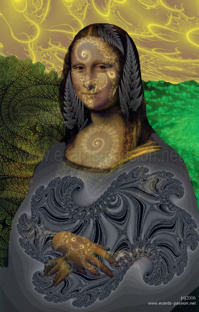 fractal version; Leonardo da Vinci and his painting of Mona Lisa; Louvre in Paris, France