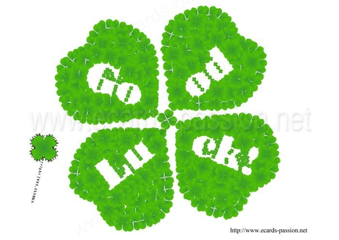 green 4 leaf-clover; win; wishing luck