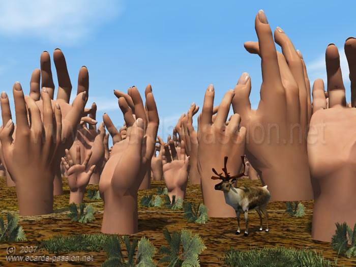 raised arms and fingers; forest of hands with deer