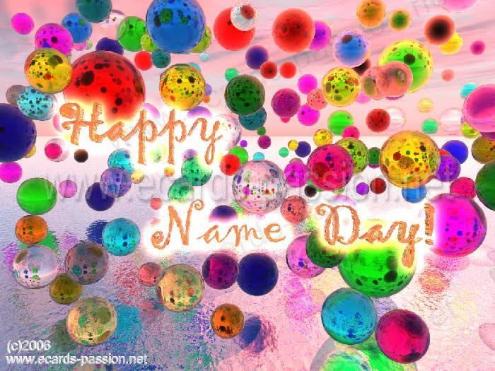 happy name day in english with colored balloons at a party