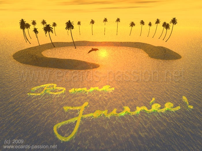 dolphin jumping near island; coconut and palm trees; sea at sunset; wishing a nice day