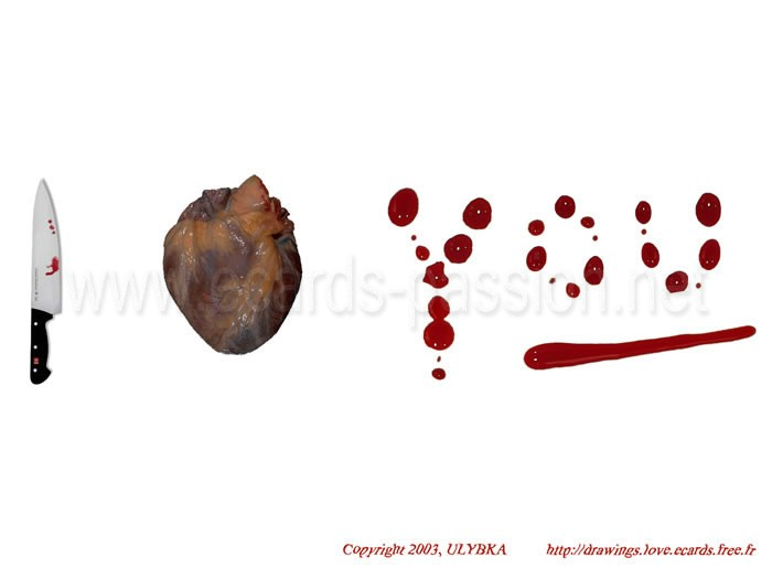 real human heart; murder with knife; blood stains