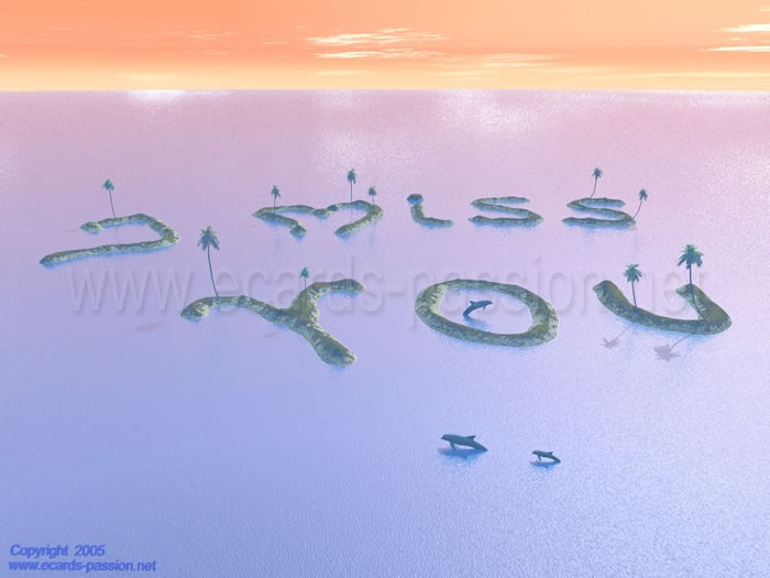 dolphin jumping over water; dream islands; I miss you;  atoll islands; coconut and palm trees; sea