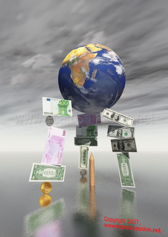 world in a financial imbalance; euro and dollar; falling markets; fragile globalization; inflation; chaotic stock market; money; rich and poor; risky business; market valuation