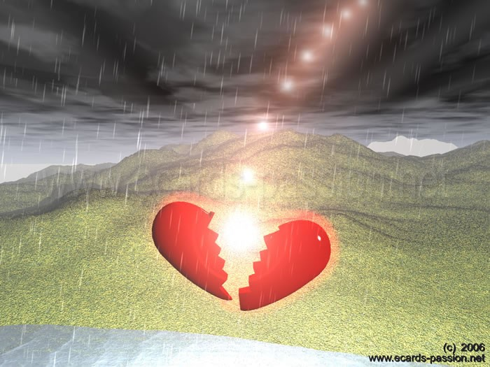 heart broken by a lightning strike; dark and rainy day; electrical shock; thunderstorm; stormy weather