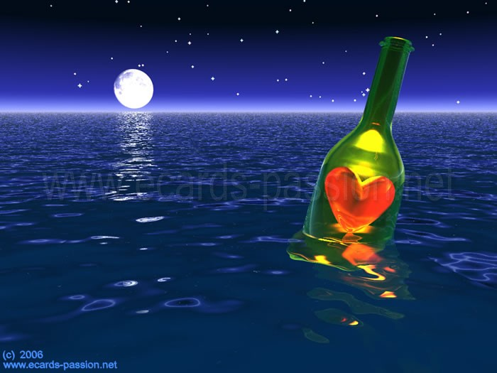 floating bottle with a heart in it; I send you my love; I love you; romantic message; moonlight romance at sea; bright stars