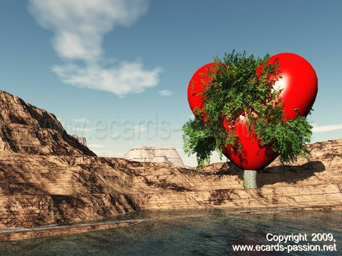 growing love; red heart in a tree