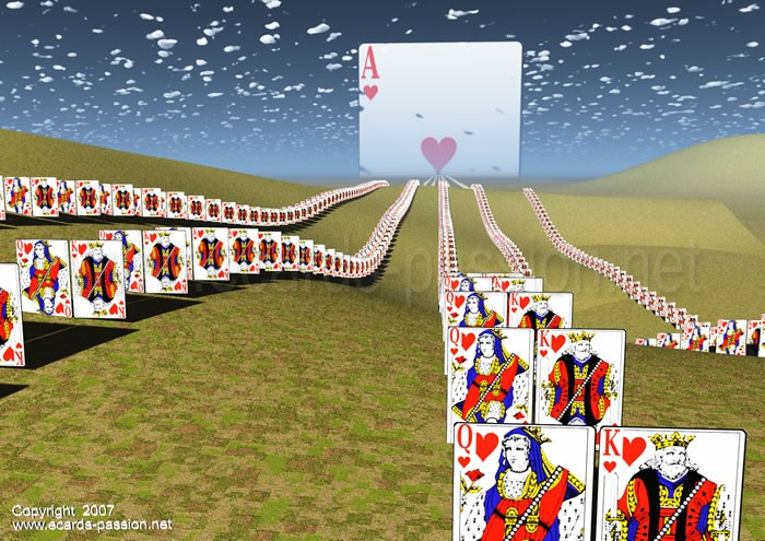 couples in love converging towards a heart; game of cards; kings and queens together
