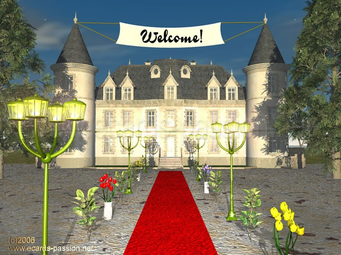 red carpet; middle age castle; friends are welcome to have a drink; invitation to party;  lanterns; welcome to the manor; renaissance castle