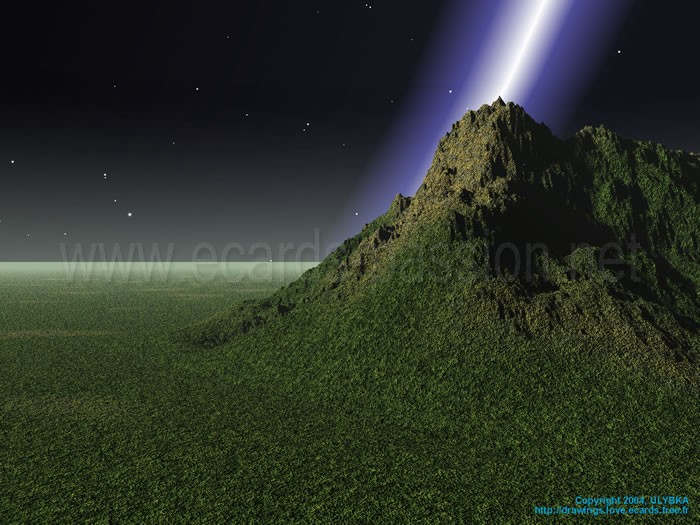 God rays; green mountain; lightning in the dark; mountain; rock enlightened by a cosmic ray