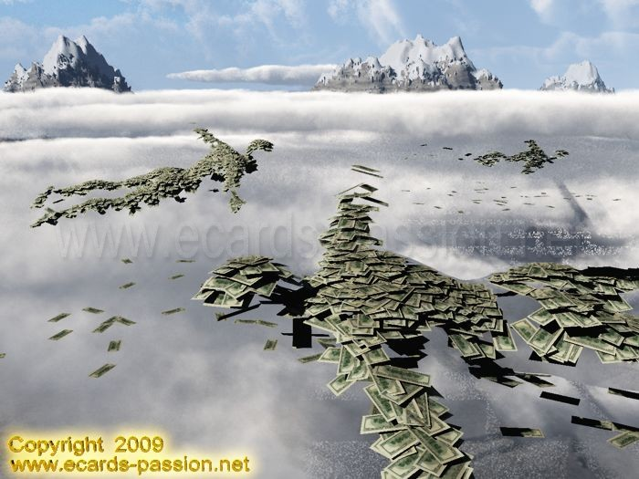 flying money dollars; clouds; sky; rich bankers