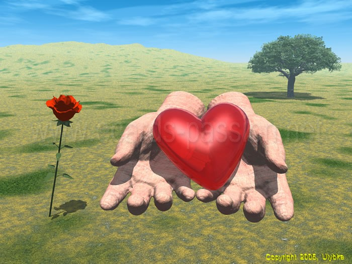 romantic donation; hands handing a gift; I give you my heart; I love you; romantic present; red roses; give and take