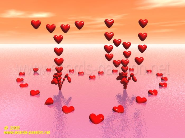 Gushing hearts i love you romantic sources waterfall with hearts