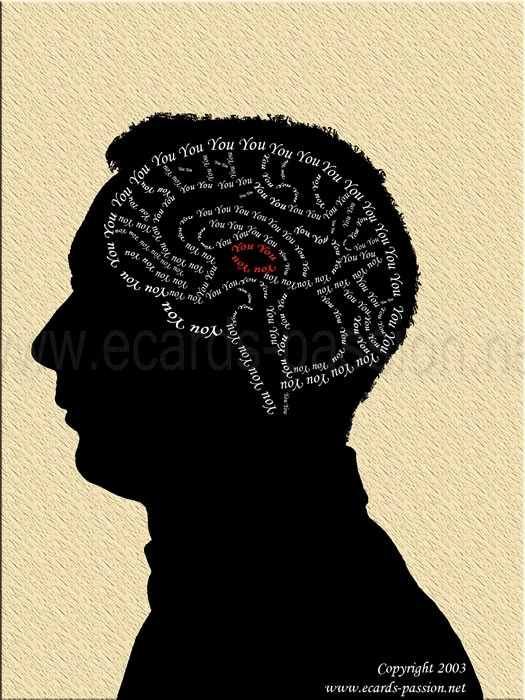 neurons and brain cells in my head; obsession about you; shadow profile; thinking of you