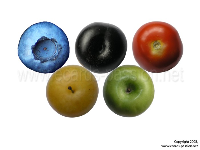 apple; blueberry; competition; international; Olympic rings; games; plum; sport; tomato