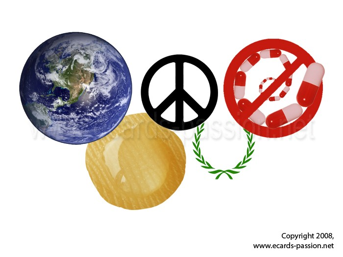 Earth; international sport competition; laurel; Olympic rings; peace; doping pills; sport; sweat