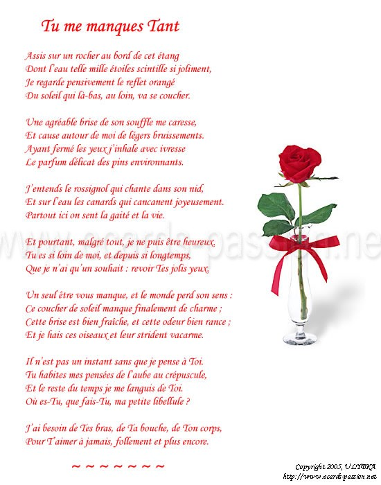 miss you poetry. poem in French: I miss you so