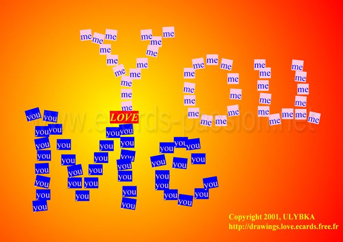 fusional love; we are like one; mixture of you and me; I love you; romantic stickers