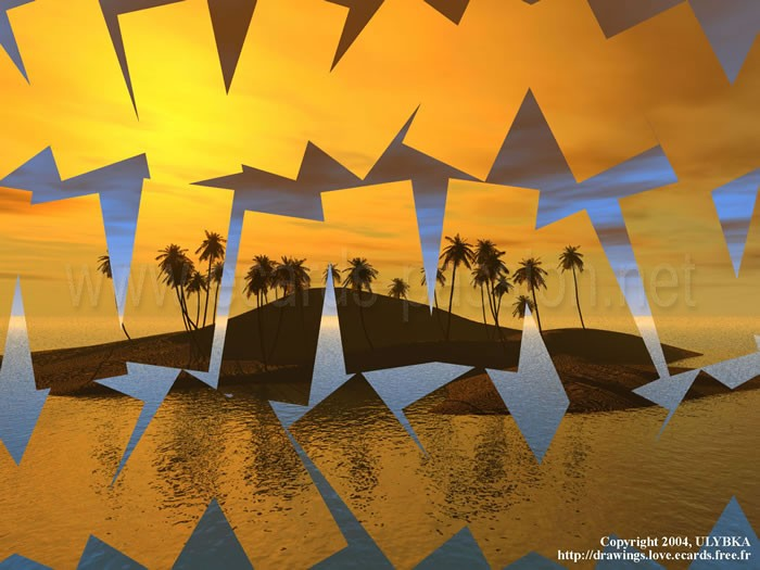 reflecting cards; coconuts and palm trees; island of dream; illusion and reality; sunset
