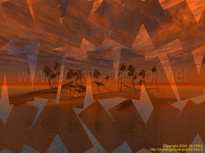 cards with ideal island; palm trees and beach of sand; illusion and reality; red thunderstorm