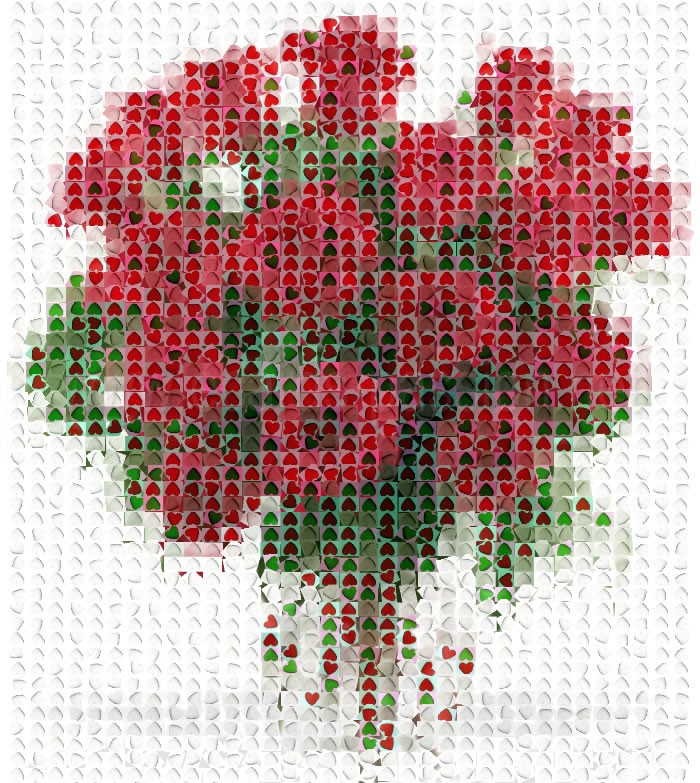 bunch of flowers; roses and hearts; love on Valentine's day