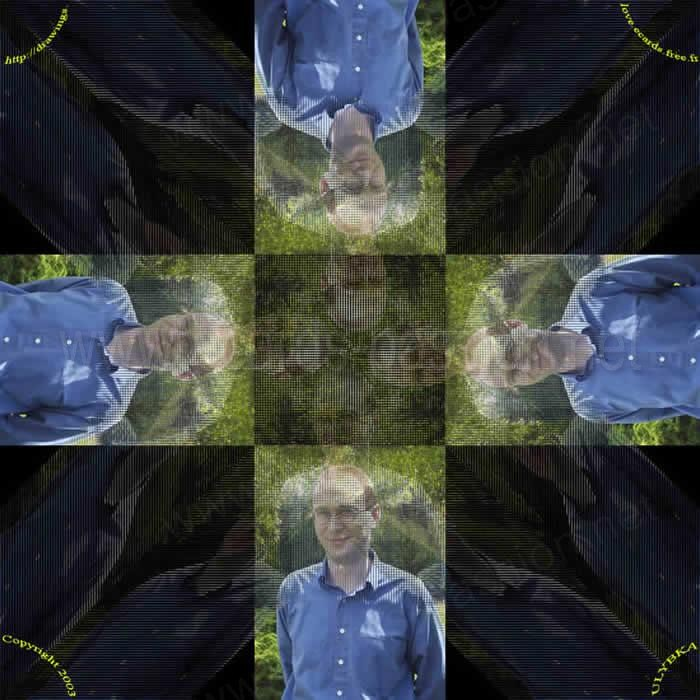 blue shirt; images merged forming a cross