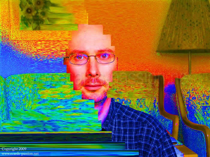 self-portrait; living-room; fading colors