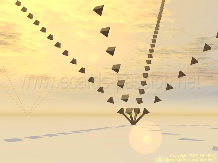digital art; pyramids going to the sky; yellow sunset