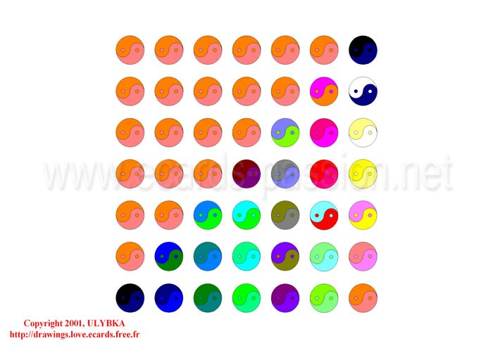 colored balls symbolizing imbalances; spheres in a square; yin and yang